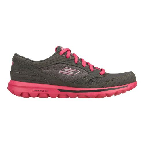 Womens Skechers GO Walk - Baby Walking Shoe - Charcoal/Hot Pink 8.5