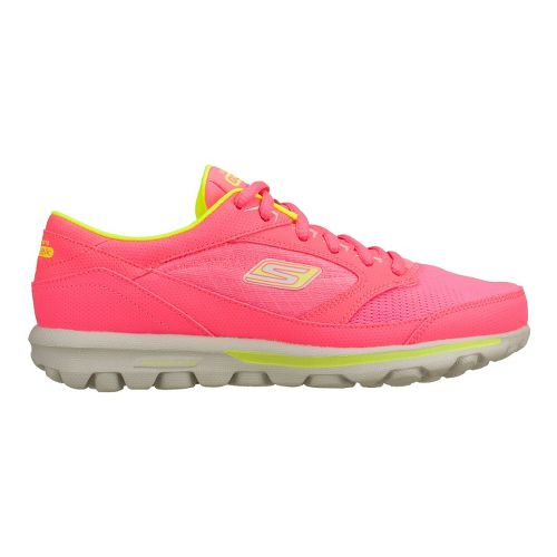 Womens Skechers GO Walk - Baby Walking Shoe - Hot Pink/Lime 6.5