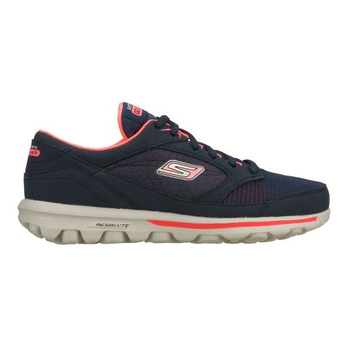 Womens Skechers GO Walk - Baby Walking Shoe - Navy/Hot Pink 7