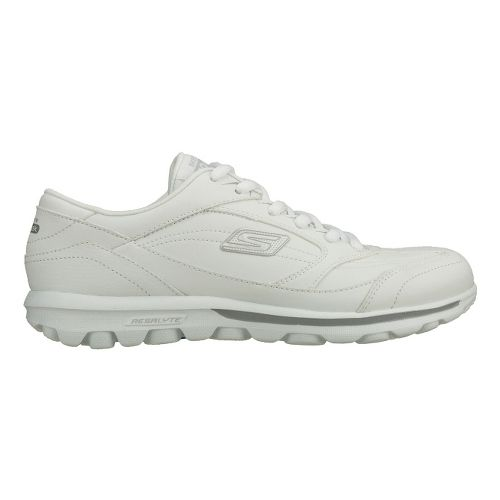 Womens Skechers GO Walk - One Step Walking Shoe - White/Silver 5