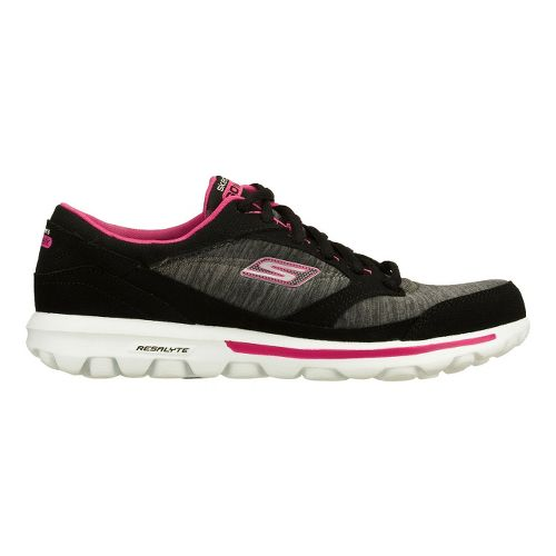 Womens Skechers GO Walk - Dynamic Walking Shoe - Black/Pink 6.5