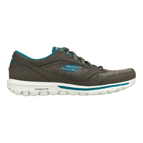 Womens Skechers GO Walk - Dynamic Walking Shoe - Charcoal/Turquoise 7.5