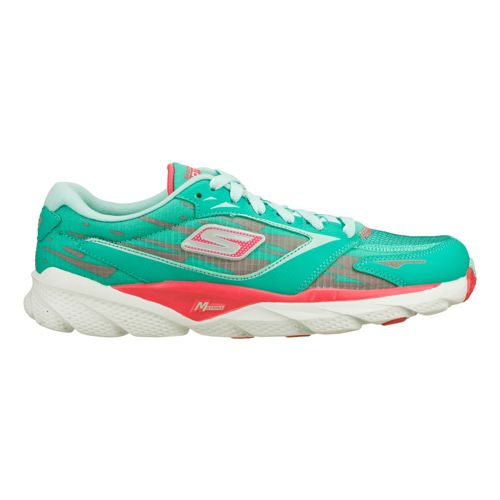 Womens Skechers GO Run Ride 3 Running Shoe - Aqua/Pink 6.5
