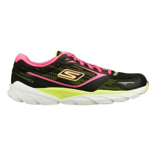 Womens Skechers GO Run Ride 3 Running Shoe - Black/Lime 7