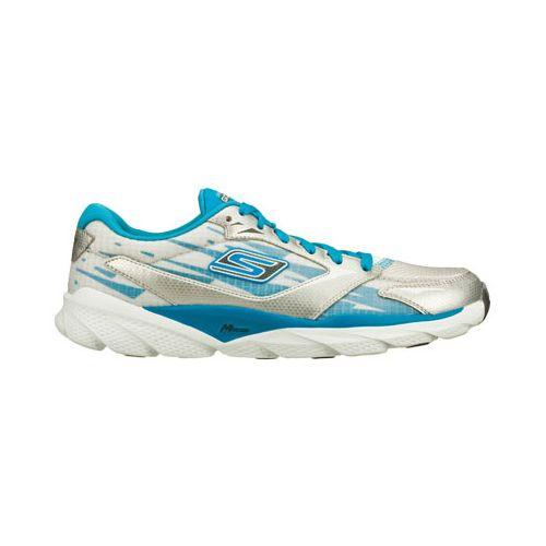 Womens Skechers GO Run Ride 3 Running Shoe - Silver/Blue 5.5