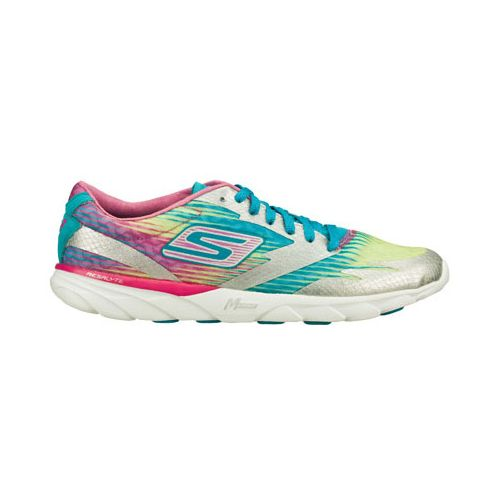 Womens Skechers GO MEB Speed 2 Running Shoe - Silver/Multi Color 9