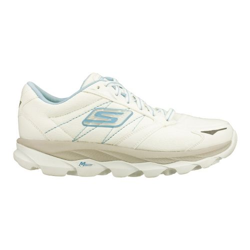 Womens Skechers GO Run Ultra LT Running Shoe - White/Light Blue 6.5