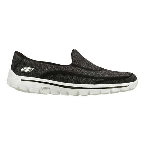 Womens Skechers GO Walk 2 - Super Sock Walking Shoe - Black/White 6.5