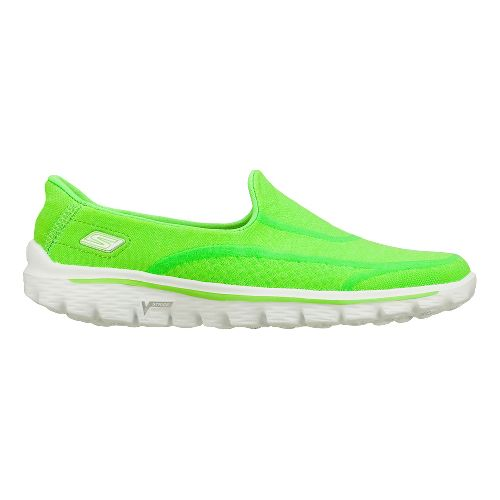 Womens Skechers GO Walk 2 - Super Sock Walking Shoe - Green 7