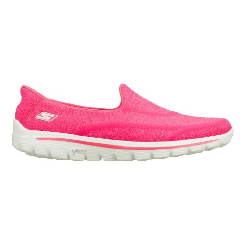 Womens Skechers GO Walk 2 - Super Sock Walking Shoe - Hot Pink 6