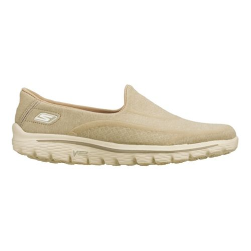 Womens Skechers GO Walk 2 - Super Sock Walking Shoe - Taupe 5.5