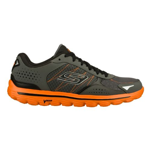 Mens Skechers GO Walk 2 - Flash Walking Shoe - Charcoal/Orange 10.5