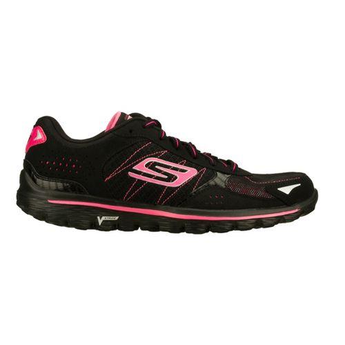 Womens Skechers GO Walk 2 - Flash Walking Shoe - Black/Hot Pink 9