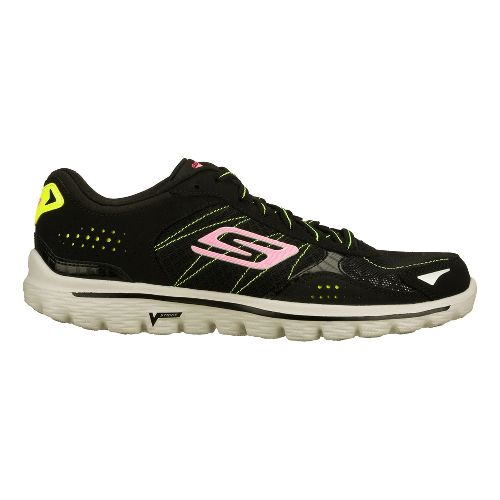 Womens Skechers GO Walk 2 - Flash Walking Shoe - Black/Lime 10