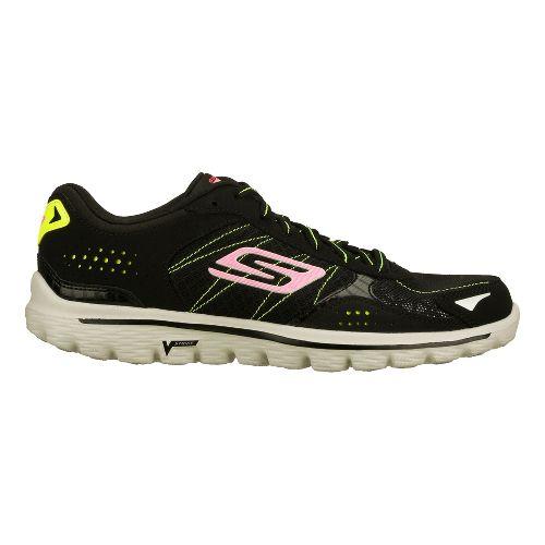 Womens Skechers GO Walk 2 - Flash Walking Shoe - Black/Lime 8.5
