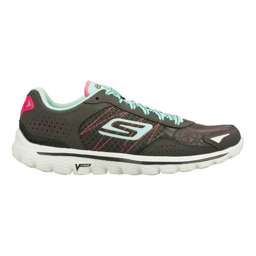 Womens Skechers GO Walk 2 - Flash Walking Shoe - Charcoal/Blue 11