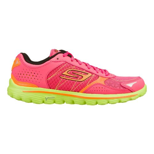 Womens Skechers GO Walk 2 - Flash Walking Shoe - Hot Pink/Lime 5.5