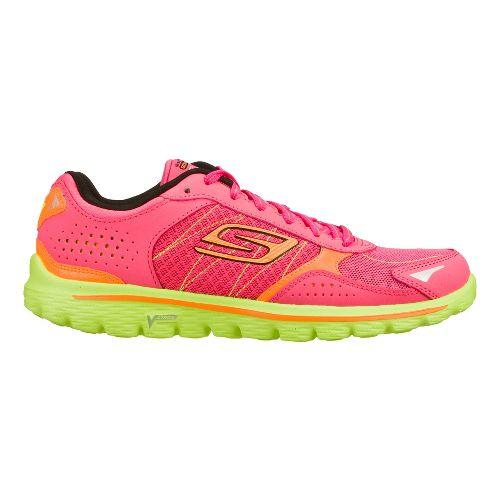 Womens Skechers GO Walk 2 - Flash Walking Shoe - Hot Pink/Lime 7