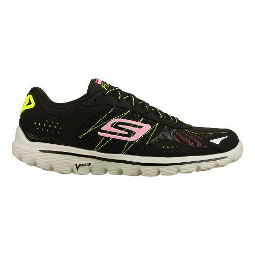 Womens Skechers GO Walk 2 - Flash Walking Shoe - Lime/Black 7.5