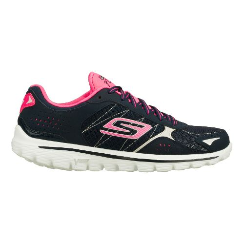 Womens Skechers GO Walk 2 - Flash Walking Shoe - Navy/Hot Pink 11