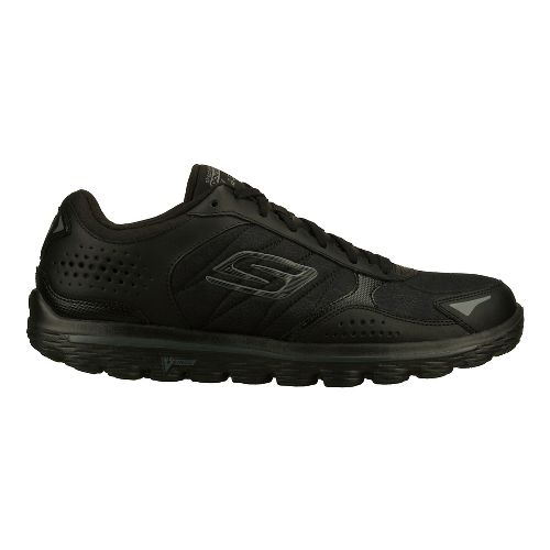 Mens Skechers GO Walk 2 - Flash - Leather Tex Walking Shoe - Black 8.5 ...