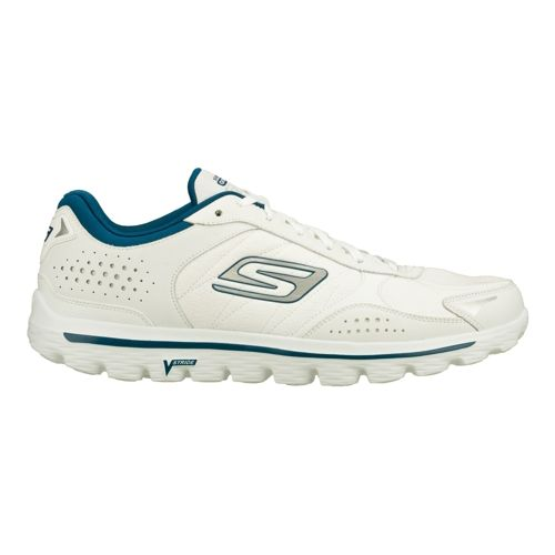 Mens Skechers GO Walk 2 - Flash - Leather Tex Walking Shoe - White/Navy 9 ...
