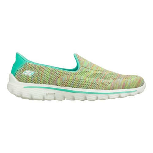 Womens Skechers GO Walk 2 - Elite Walking Shoe - Aqua/Multi Color 7