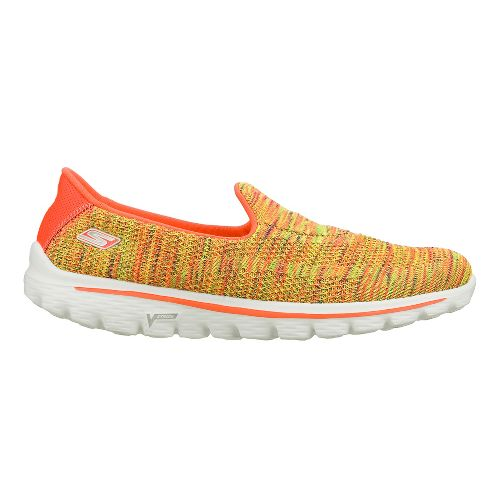 Womens Skechers GO Walk 2 - Elite Walking Shoe - Yellow/Multi Color 7