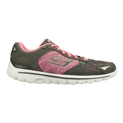 Womens Skechers GO Walk 2 - Flash Strong Walking Shoe - Charcoal/Pink 5