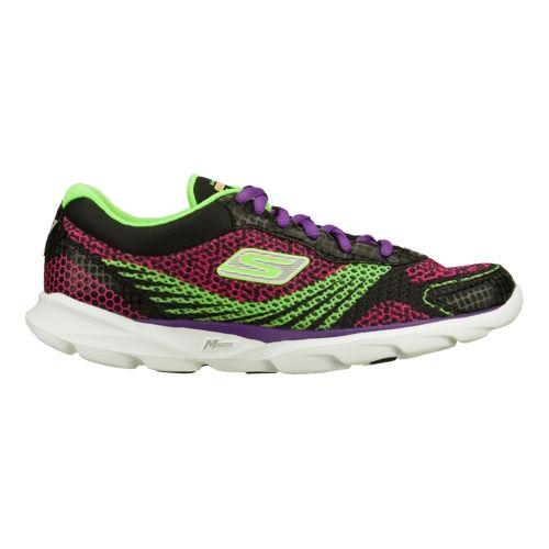 Womens Skechers GO Run - Sonic Running Shoe - Black/Green 9