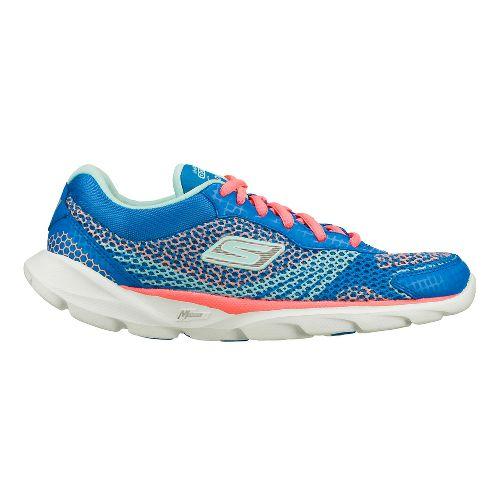 Womens Skechers GO Run - Sonic Running Shoe - Blue/Hot Pink 6.5