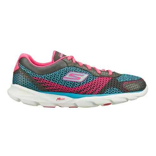 Womens Skechers GO Run - Sonic Running Shoe - Charcoal/Pink 10