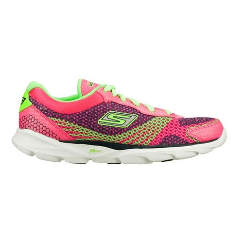 Womens Skechers GO Run - Sonic Running Shoe - Hot Pink/Green 7.5
