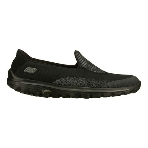 Womens Skechers GO Walk 2 - Blink Walking Shoe - Black/Grey 8