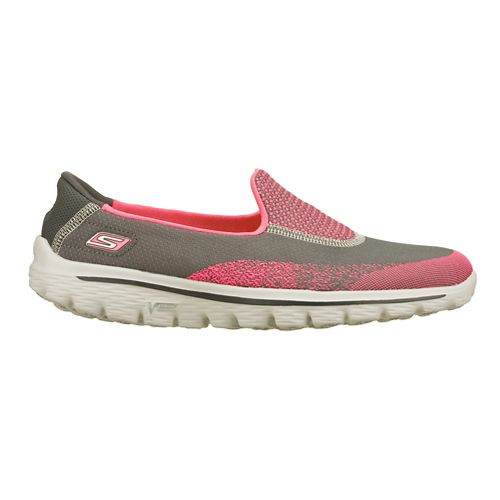 Womens Skechers GO Walk 2 - Blink Walking Shoe - Charcoal/Hot Pink 5