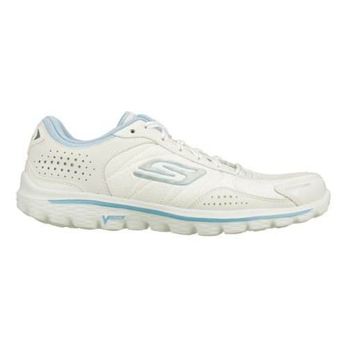 Womens Skechers GO Walk 2 - Flash - LT Walking Shoe - White/Light Blue 9 ...