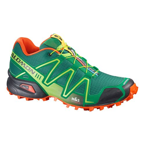 Mens Salomon Speedcross 3 Trail Running Shoe - Green/Orange 13