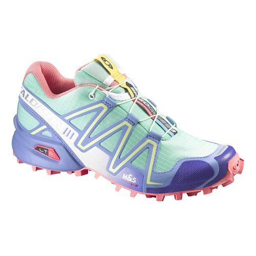 Womens Salomon Speedcross 3 Trail Running Shoe - Green/Petunia 6.5