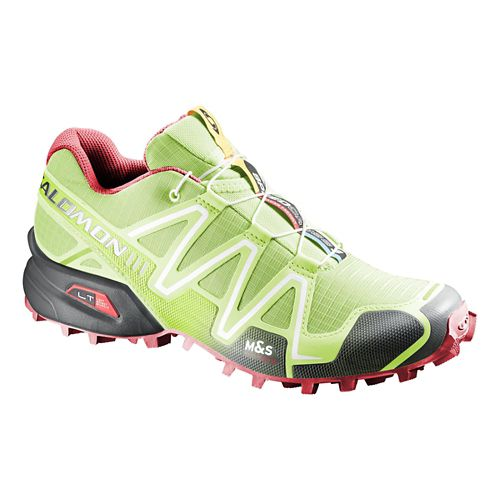 Womens Salomon Speedcross 3 Trail Running Shoe - Green/Papaya 10