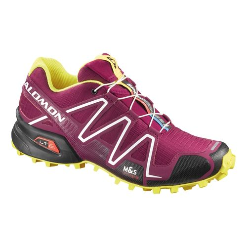 Womens Salomon Speedcross 3 Trail Running Shoe - Purple/Yellow 9.5