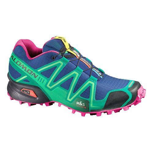 Womens Salomon Speedcross 3 Trail Running Shoe - Blue/Green 5.5
