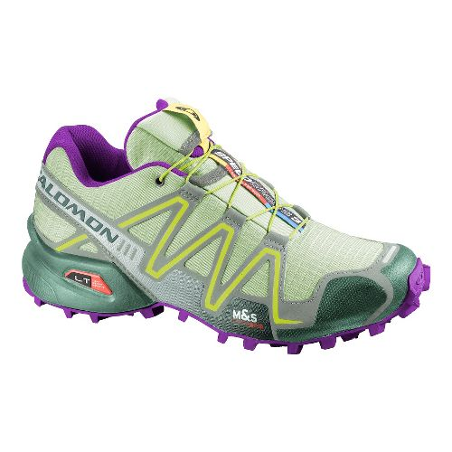 Womens Salomon Speedcross 3 Trail Running Shoe - Green/Purple 9.5