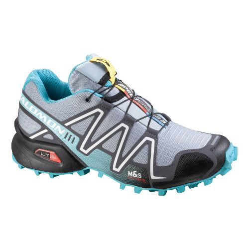 Womens Salomon Speedcross 3 Trail Running Shoe - Grey/Light Blue 9.5