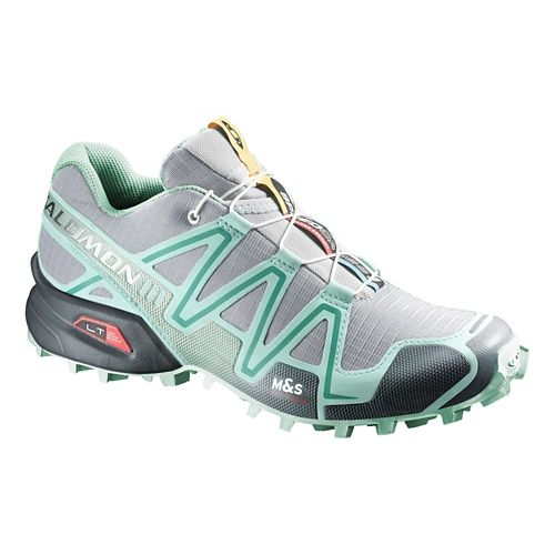 Womens Salomon Speedcross 3 Trail Running Shoe - Green/Petunia 9