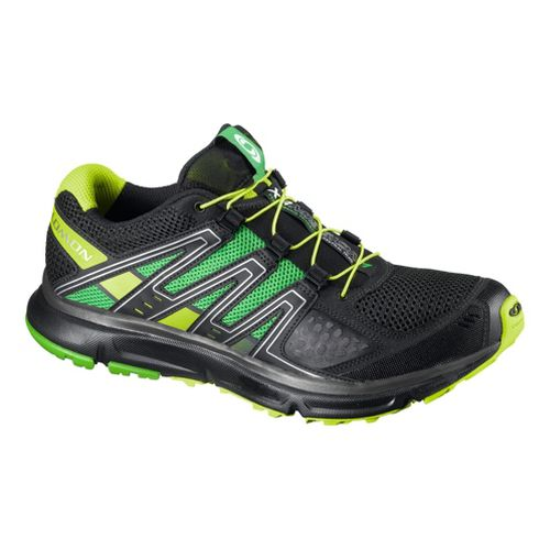 Mens Salomon XR Mission Trail Running Shoe - Black/Green 10.5