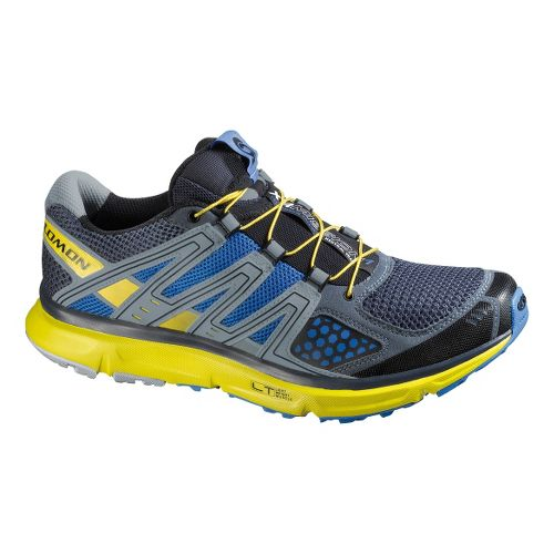 Mens Salomon XR Mission Trail Running Shoe - Blue/Yellow 9.5