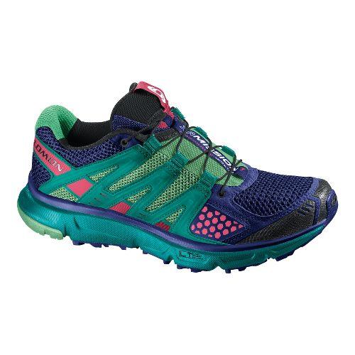 Womens Salomon XR Mission Trail Running Shoe - Blue/Green 10.5