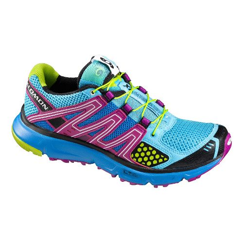 Womens Salomon XR Mission Trail Running Shoe - Blue/Purple 8.5