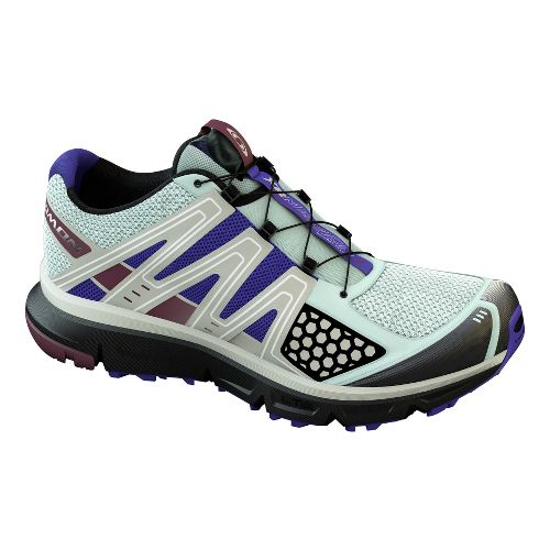 Womens Salomon XR Mission Trail Running Shoe - Ice Blue/Black 10.5