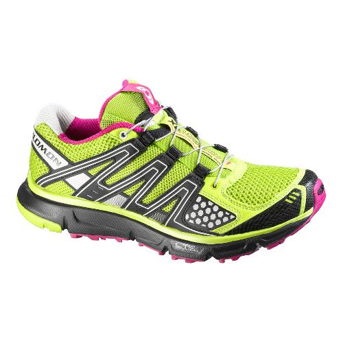 Womens Salomon XR Mission Trail Running Shoe - Lime/Black 7.5